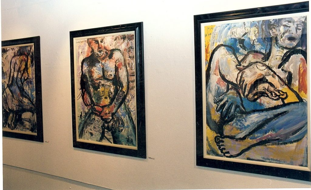 Installation view of 3 erotic nudes