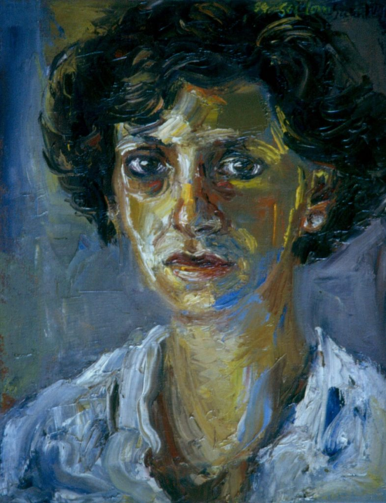 Portrait of Artist's sister Angela Scialom. Oil painting on Canvas