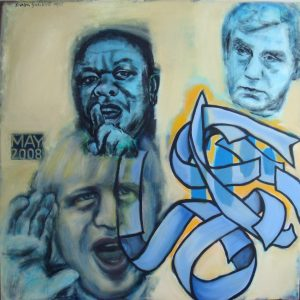 Portrait of Boris Johnson, Morgan Tsvangirai, Gordon Brown.