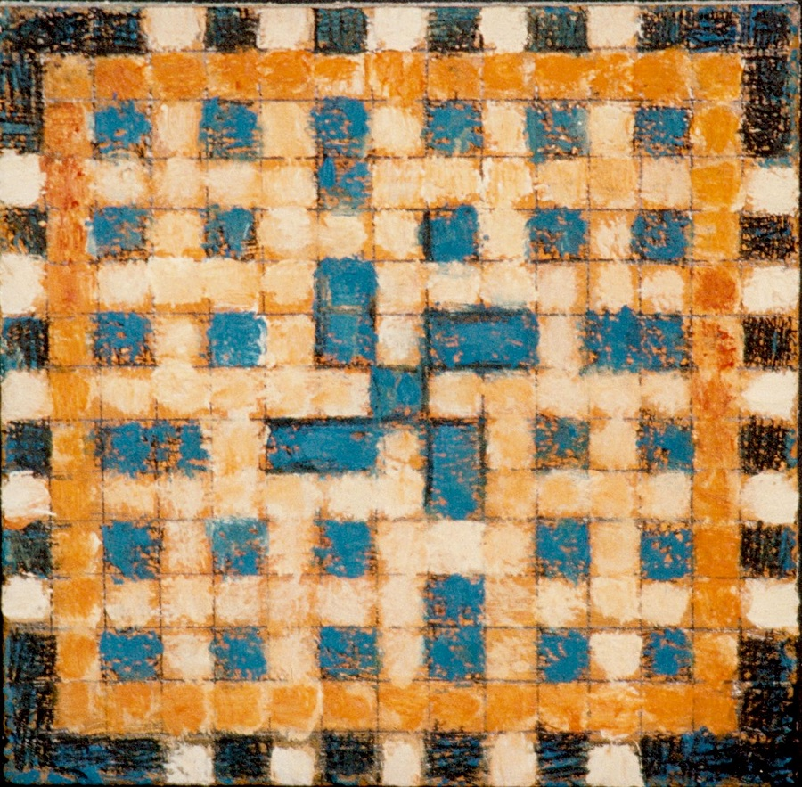 Very small, textured checkered image suggesting a tile