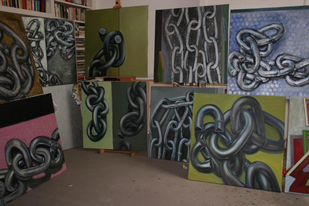 A picture showing a collections of the artists paintings in the category called Chains