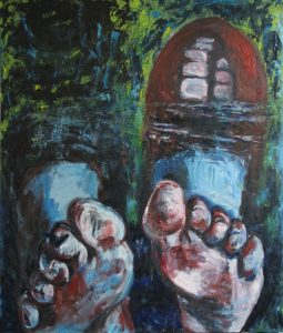 Massive Canvas Oil Painting of huge feet against a background of blues and green. Showing a boot in background