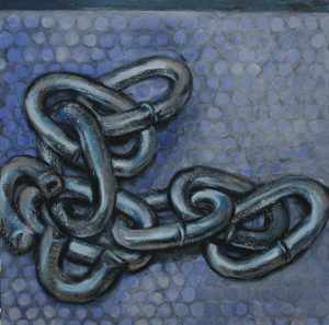 Blue painting of chains on ground with small stylised circles