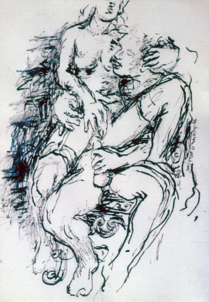 Small drawing of couple making love