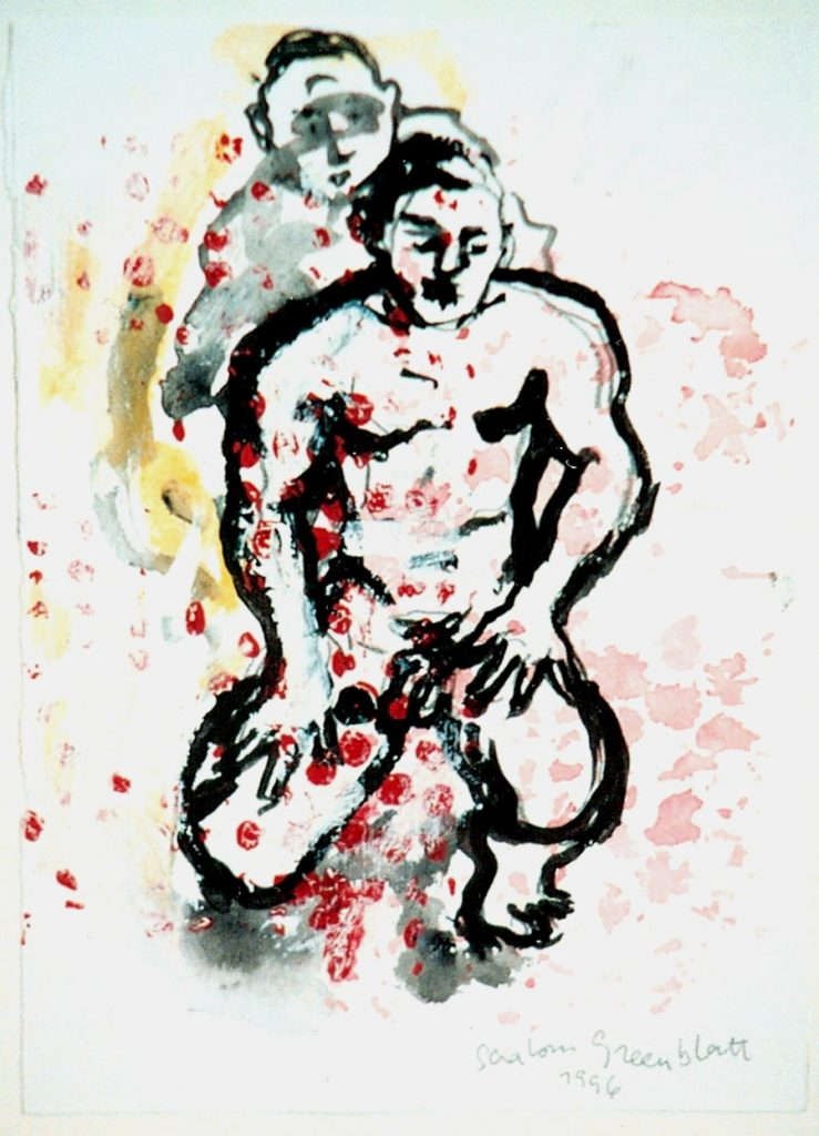 Male Figures. 1996 Mixed Media on Paper 21x30cm