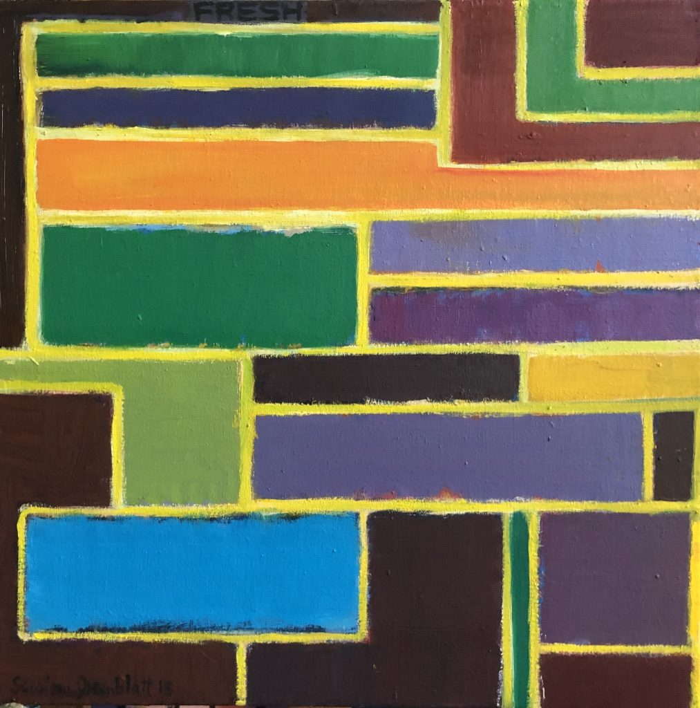 Rectilinear brightly coloured shapes