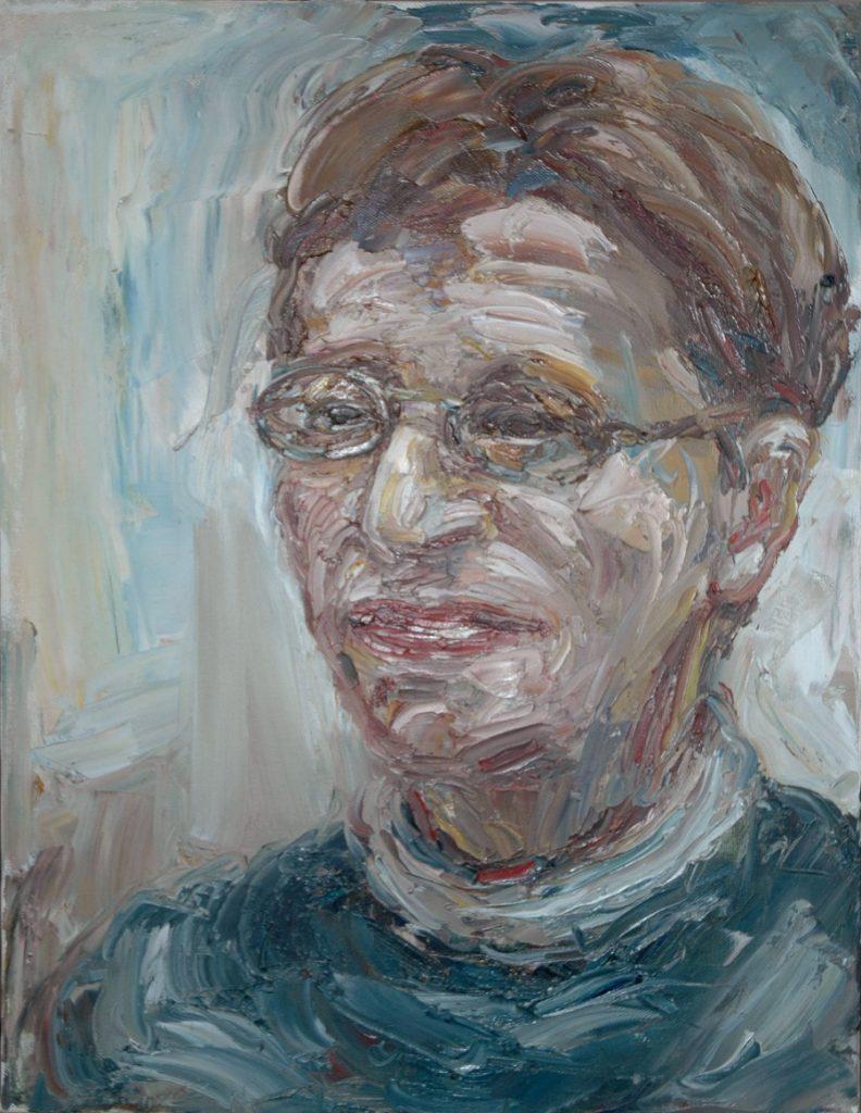 Portrait of Artist's mother Paulette Scialom. Oil painting on Canvas