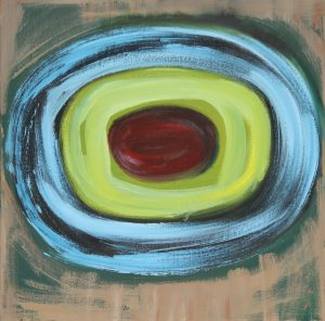 Outer cerulean blue circle, middle apple green circle with red central ovoid shape