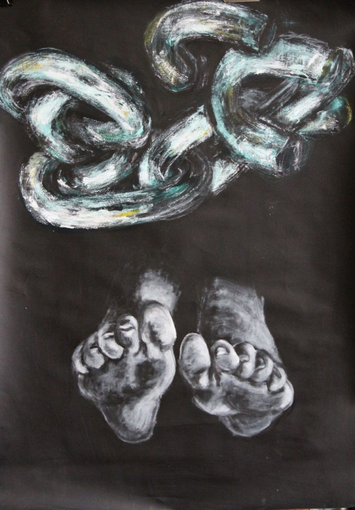 Dramatic drawing in white lines on almost black ground of linked chains above and a pair of feet below hover in space and suggest alternate states of being