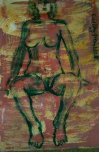 Seated 2003. Mixed Media on Paper 26x34cm