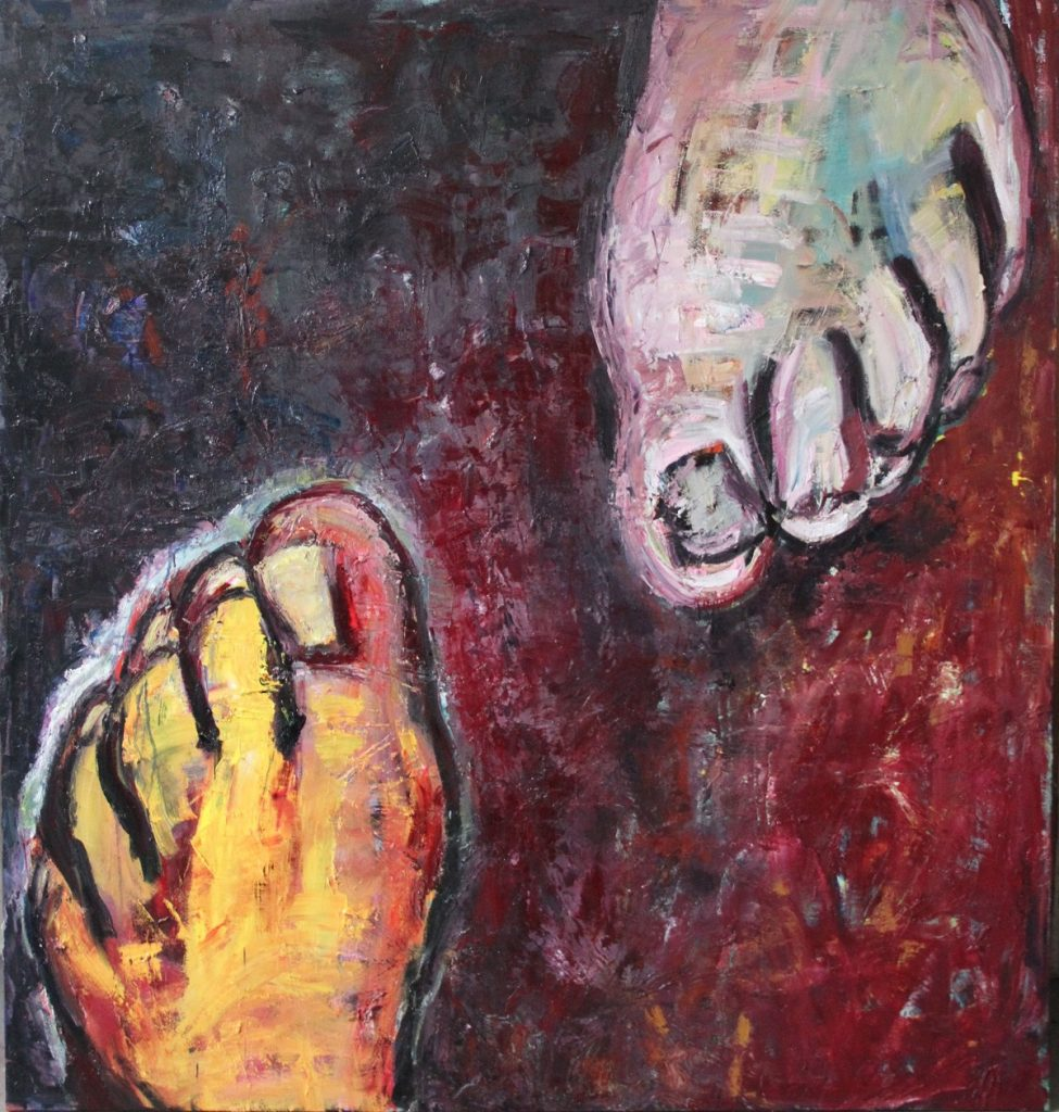 Huge Canvas showing two feet going in different directions against a velvety red background
