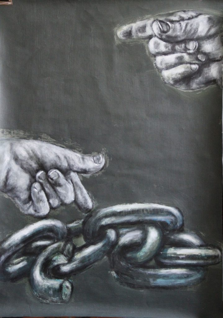 Two Hands pointing to linked Chains below, are reminiscent of Renaissance iconography, and question the relationship between the Earthly and the Sublime
