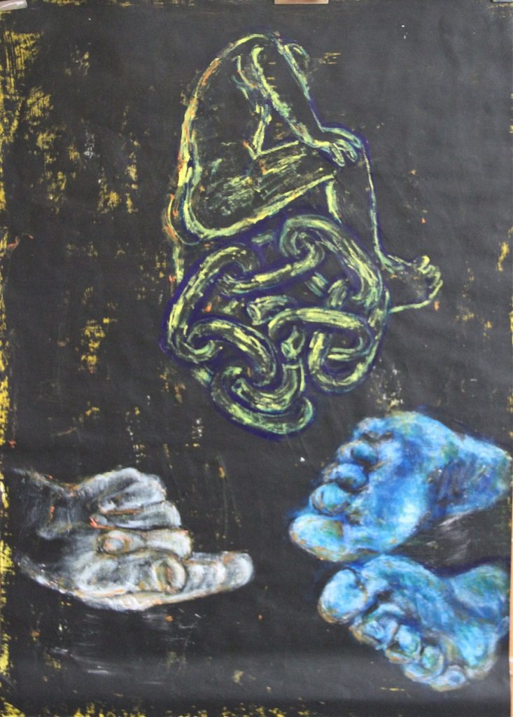 Hand, feet, figure and links on black ground