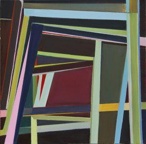 Geometric, hard edge painting in dark earth tones