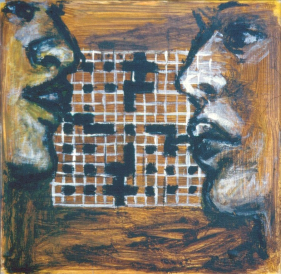 Words Words Words,1999. Oil on Board. 27x25cm