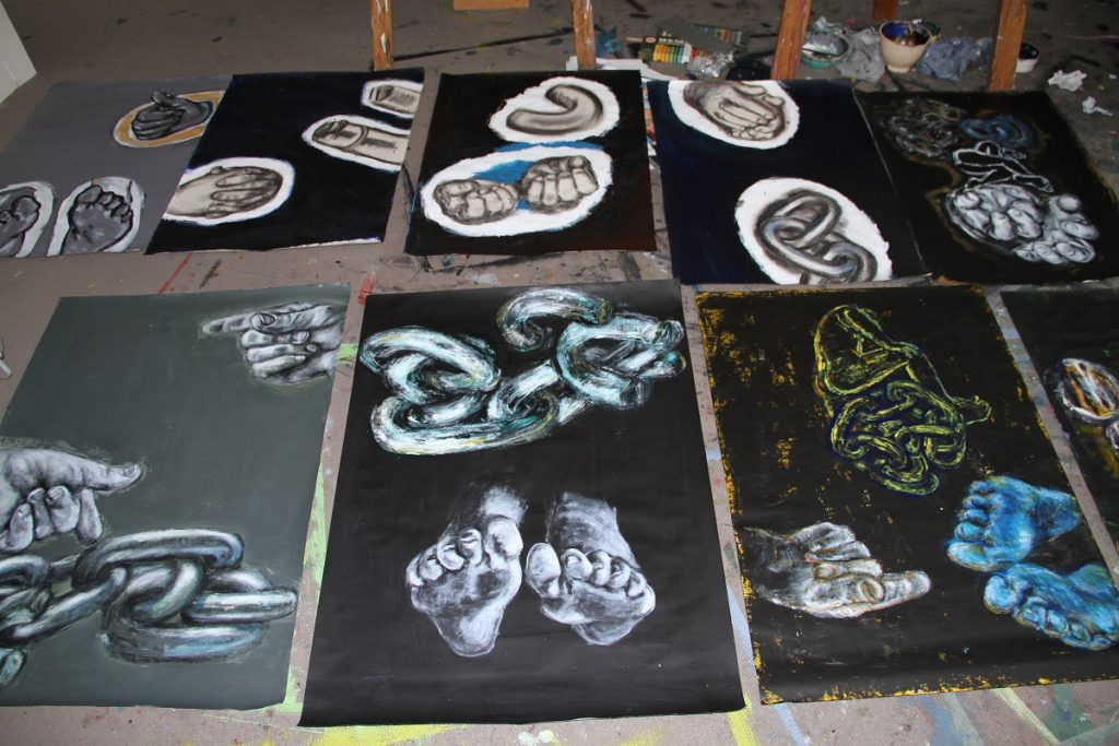 Work on Paper of Body and Chains are arranged on Studio floor to give Viewer sense of Real Scale in my Working Environment