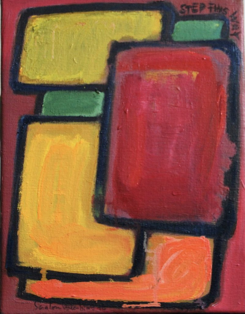 Bright warm coloured rectangles outlined in black on reddish ground