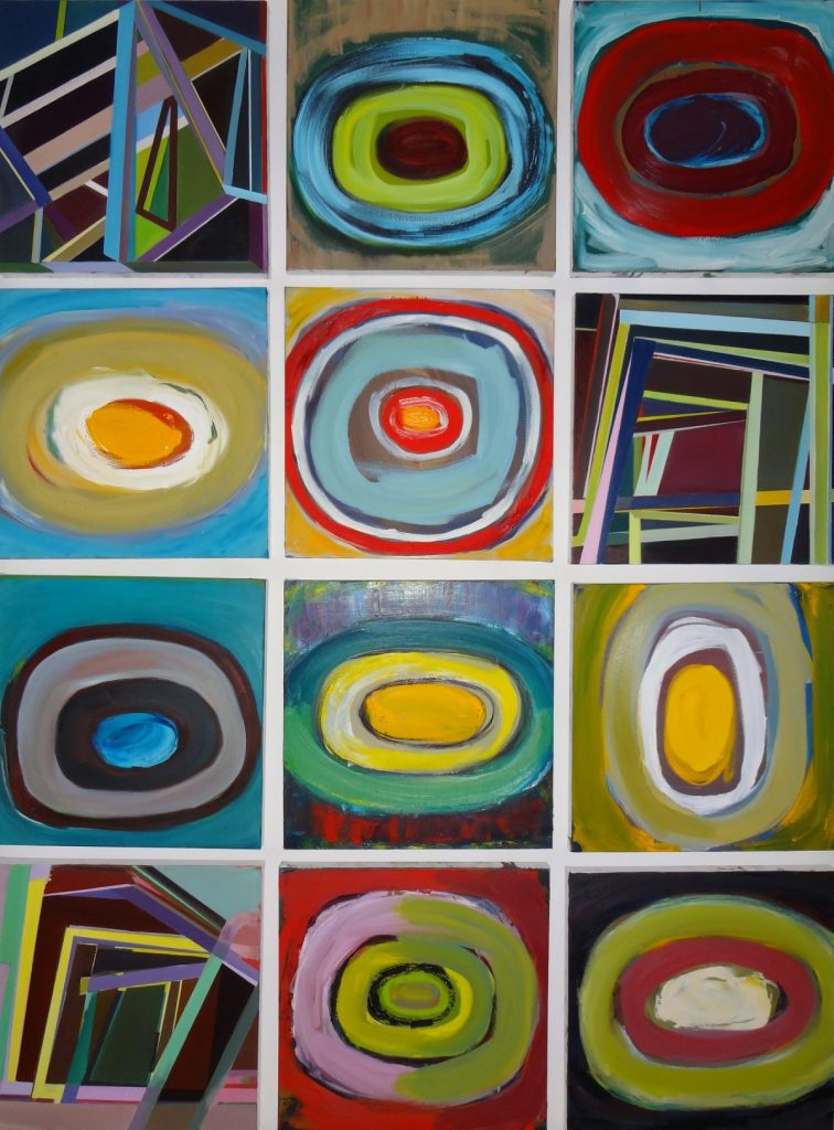 Three geometric and nine concentric abstract works assembled