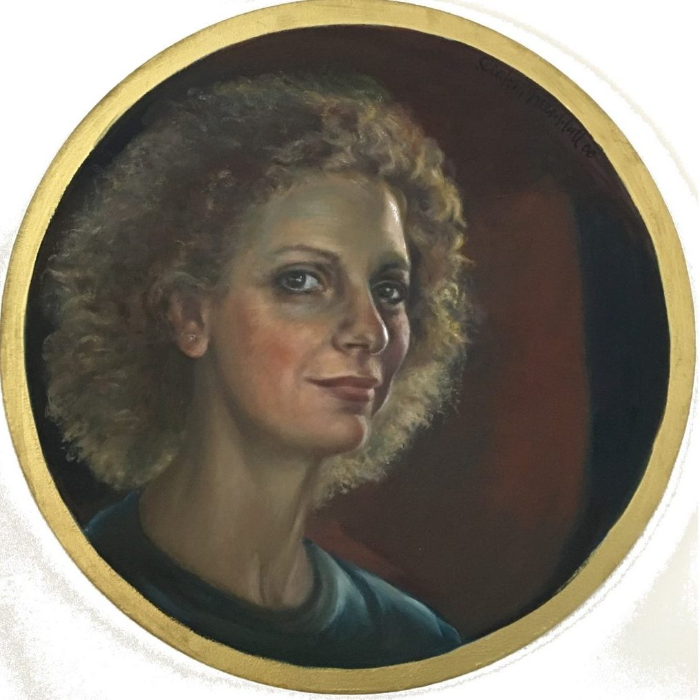 Self portrait of artist on round canvas