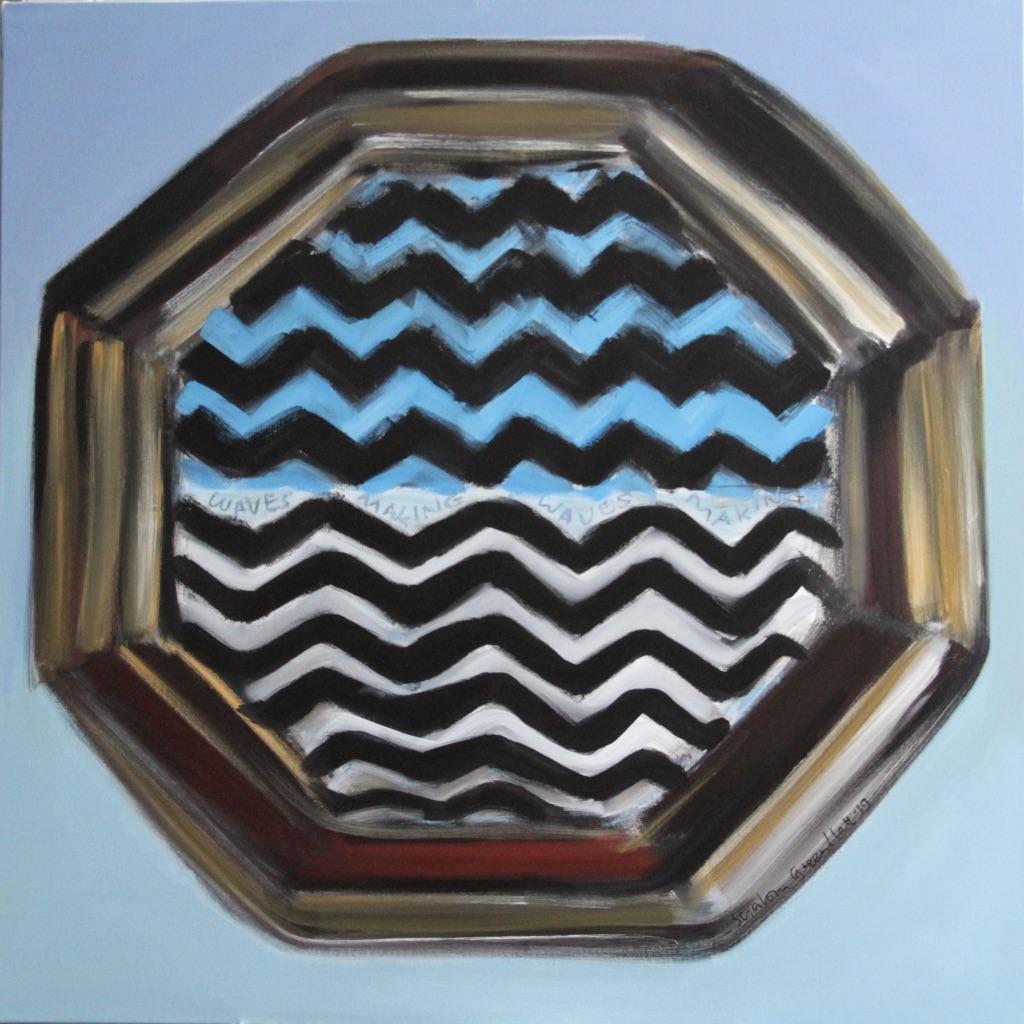 Geometric octagonal porthole enclosing zig zag lines