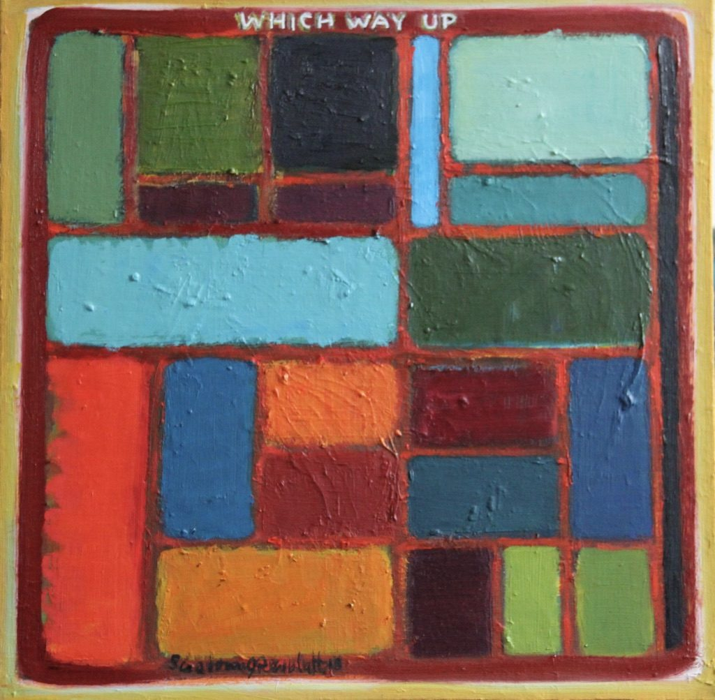 Bright rectangular shapes on orange ground are cheerful and optimisic. Amusingly the ironic tone of title questions how difficult it is to actually make decent abstract paintings